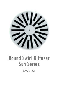 Round Swirl Diffuser Sun Series, Manufacturing, Sunshades, Grilles, Diffusers, Flexible Air Duct, Ceiling Diffusers, Supply Air Grilles, Louvers, Jet Diffusers