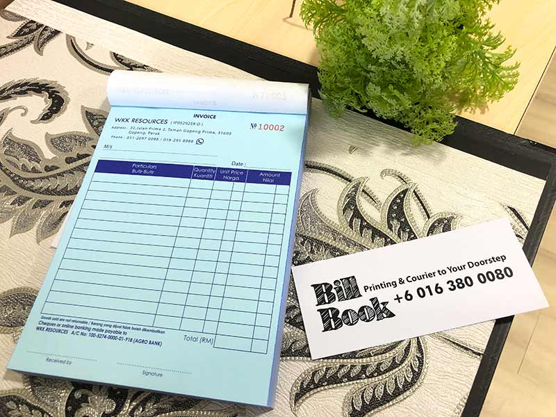 Sabak Print Bill Book Receipt Book Invoice Book Printing to Sabak